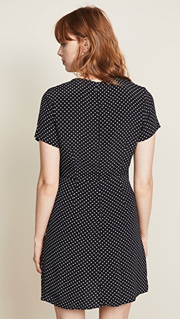Three Dots Polka Dot Tie Front Dress