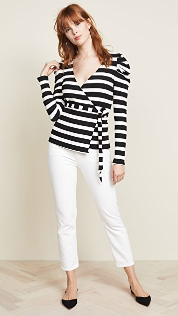 Three Dots Long Sleeve Wrap Top