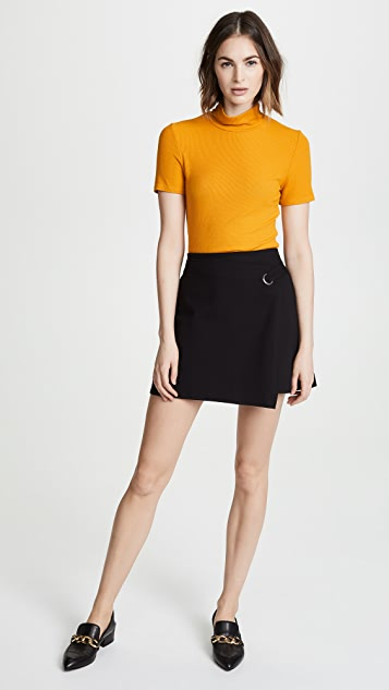 Three Dots Ponte Wrap Skirt