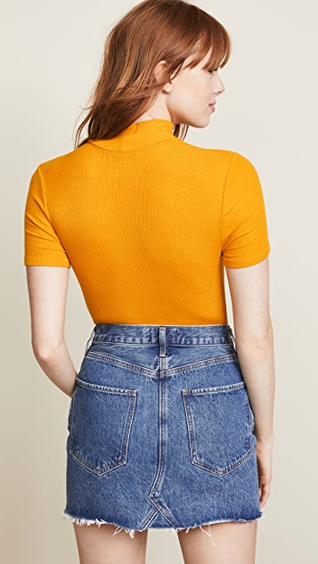 Three Dots Ribbed Short Sleeve Turtleneck