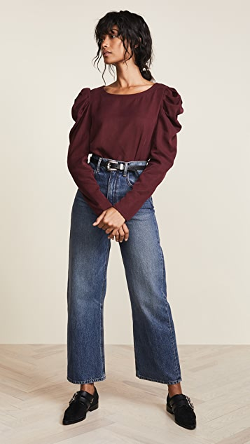 Three Dots Long Sleeve Top With Puff Sleeve
