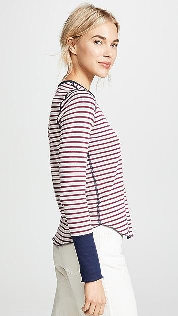 Three Dots Stripe Long Sleeve Top