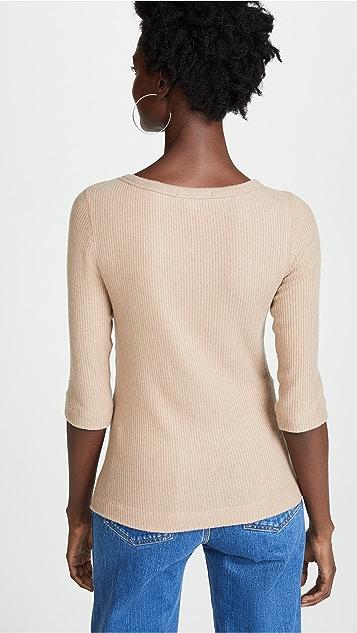 Three Dots Ribbed 3/4 Sleeve Pullover