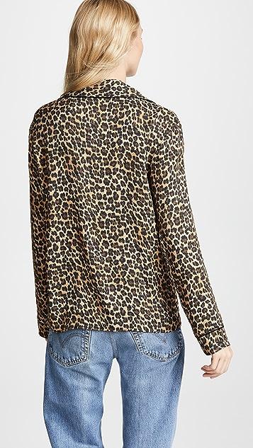 Three Dots Leopard Print PJ Top