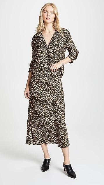 Three Dots Leopard Print Midi Skirt