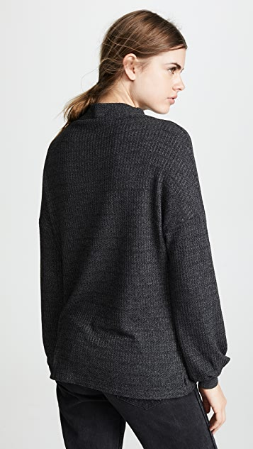 Three Dots Chunky Heather Thermal Bell Sweater