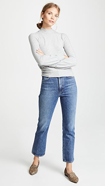 Three Dots Puff Sleeve Cropped Sweater