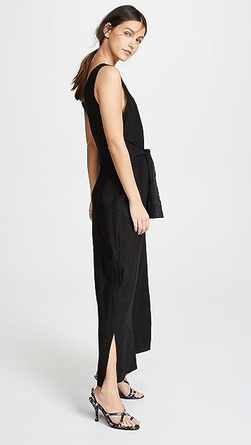 Three Dots Linen Tie Front Jumpsuit