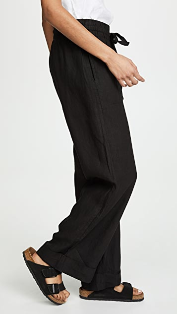 Three Dots Cuffed Linen Beach Pants