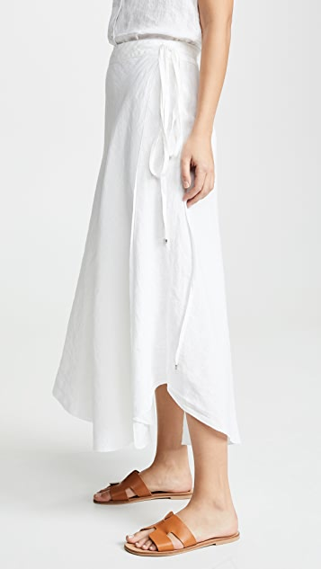 Three Dots Linen Wrap Skirt