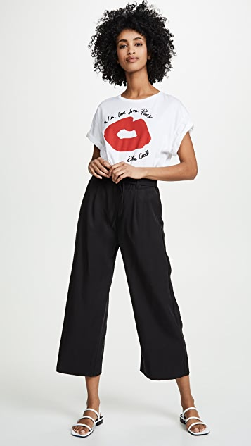Three Dots Twill Paperbag Waist Cropped Pants