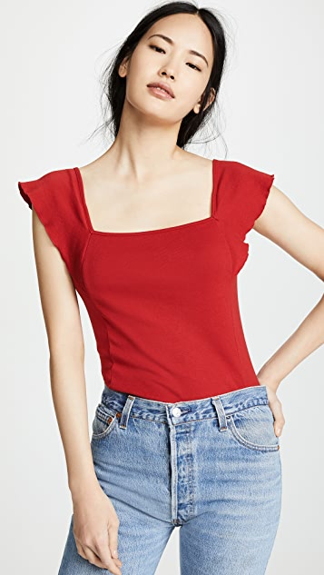 Three Dots Flutter Sleeve Square Neck Top