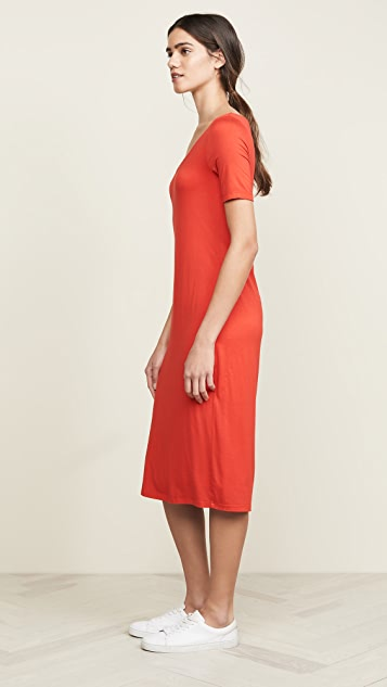 Three Dots Open V Neck Dress