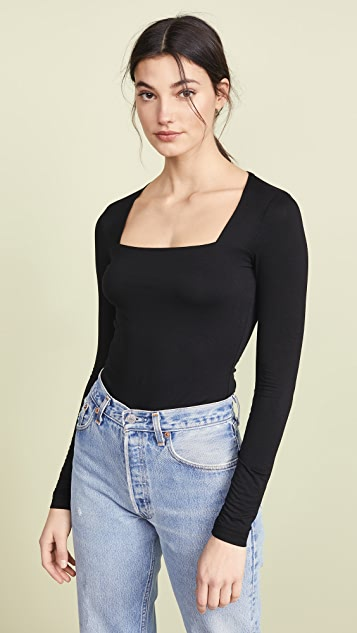 Three Dots Long Sleeve Square Neck Tee