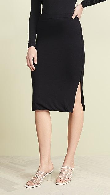 Three Dots Luxe Rib Pencil Skirt