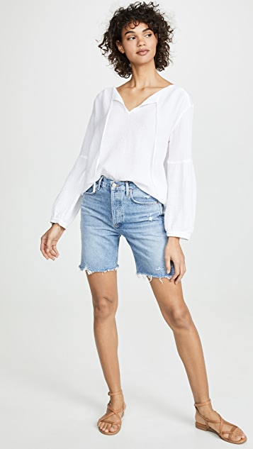 Three Dots Peasant Top