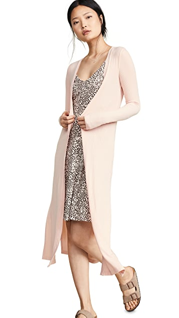 Three Dots Long Cardigan With Slits