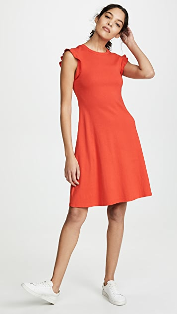 Three Dots Heritage Knit Ruffle Sleeve Dress