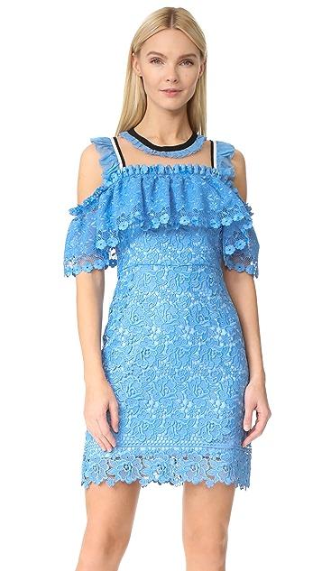 Three Floor Blue Bell Cold Shoulder Dress