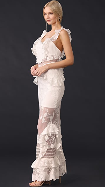 Three Floor Bouquet Lace Dress