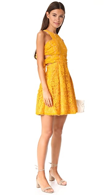 Three Floor Floral Waves Dress