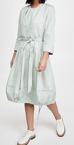 Tibi - Harrison 围兜细节和可拆卸腰带 V 领连衣裙