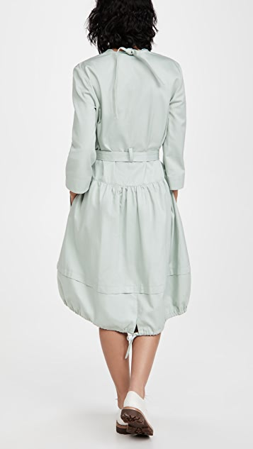 Tibi Harrison Chino V Neck Dress with Bib Detail and Removable Belt