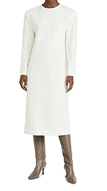 Tibi Heavy Punto Milano Long Sleeve Shoulder Pad T Dress