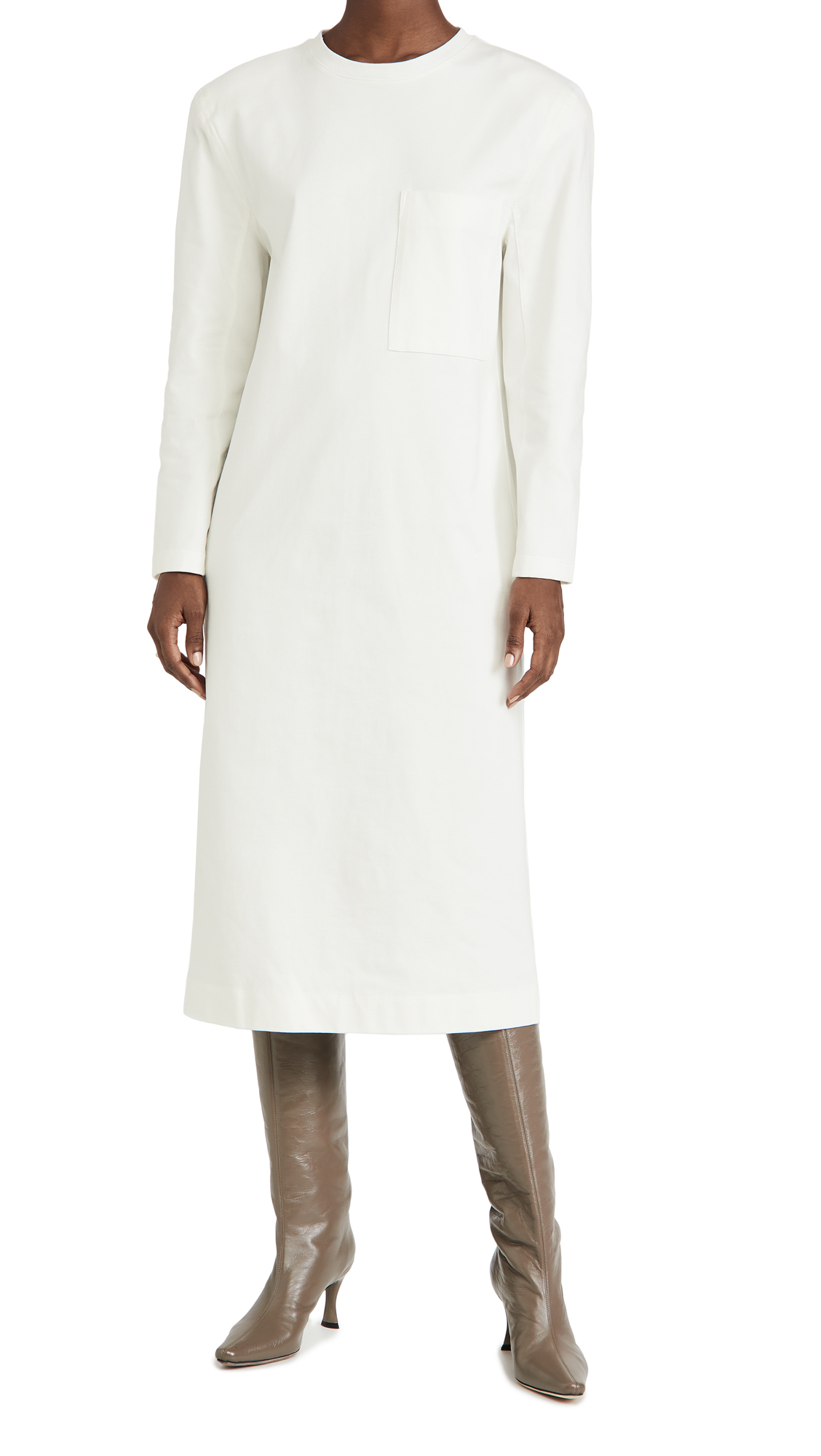 Tibi Long Sleeve Shoulder Pad Dress