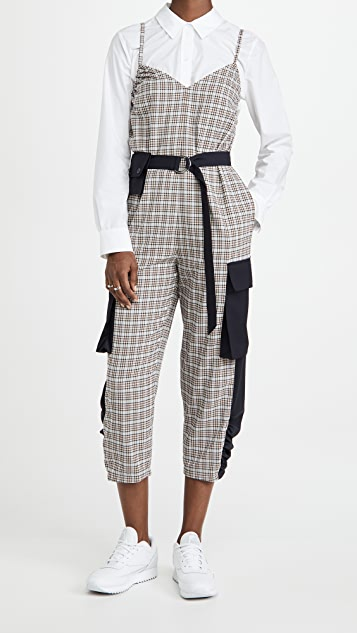 Tibi Sana 可拆卸口袋腰带格纹连身衣