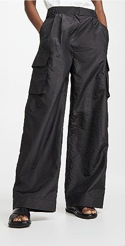 Tibi - Crispy Nylon Pleated Cargo  Pant