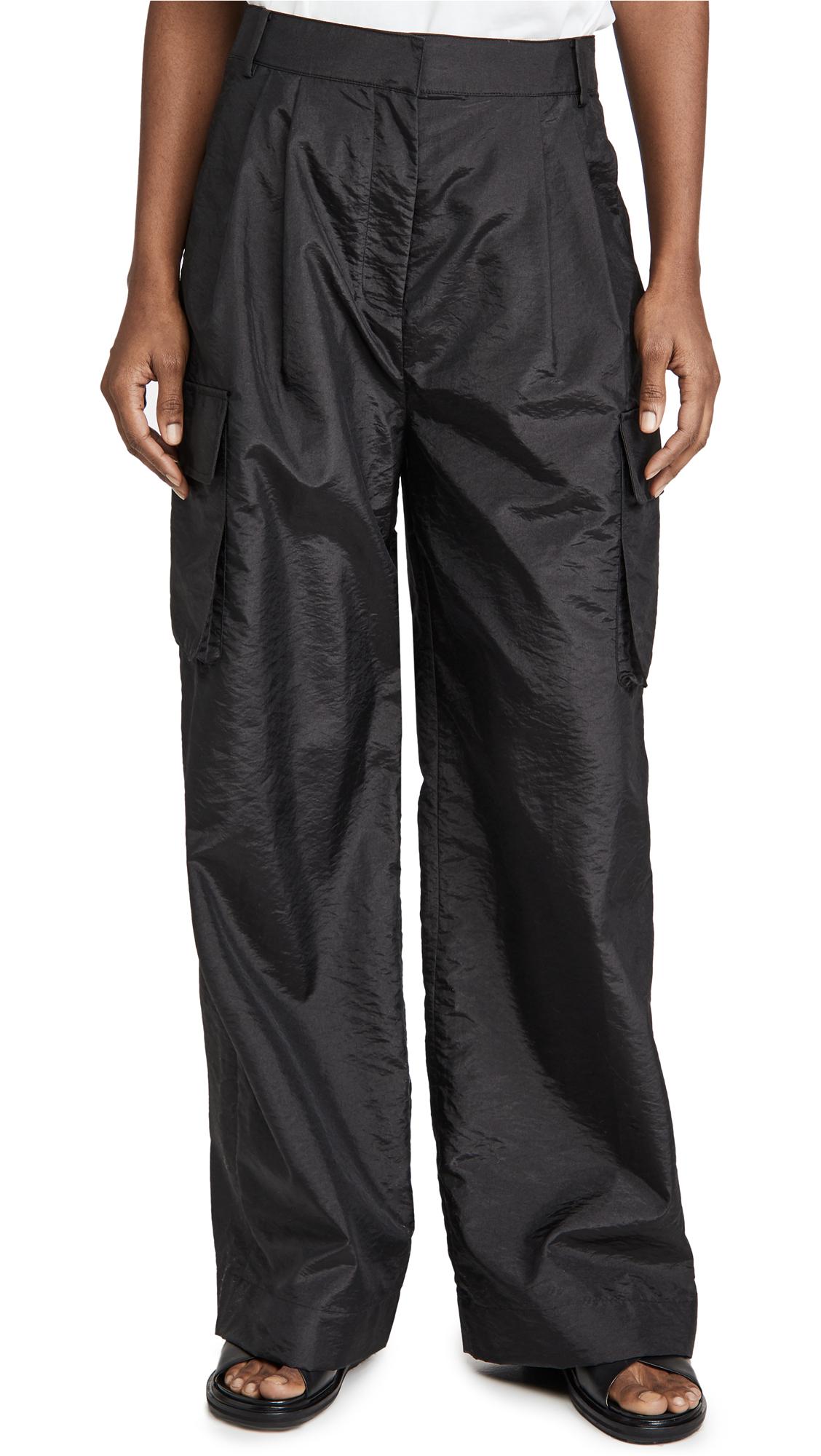 Tibi Crispy Nylon Pleated Cargo Pants