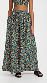 Tibi Sabine Floral Pull On Cocoon Skirt