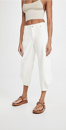 Tibi - 白色牛仔布立体长裤