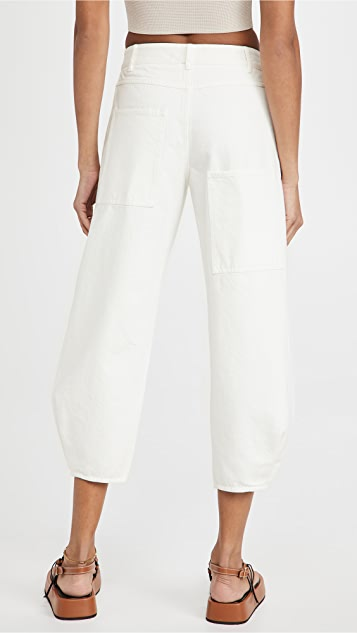 Tibi White Denim Sculpted Pants