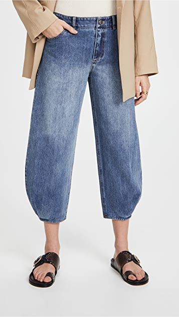 Tibi 经典牛仔布立体长裤