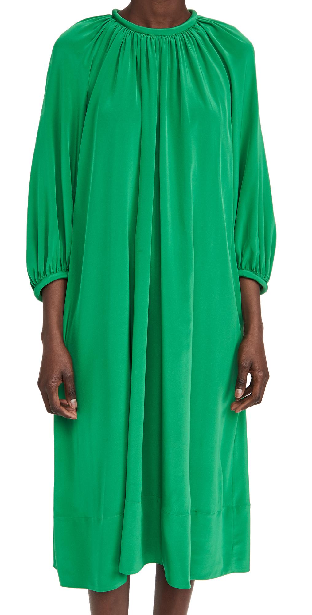 Tibi ECO SILK SHIRRED NECK PITCHED DRESS