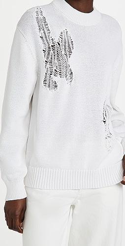 Tibi - 贴布花绣棉质圆领套头衫