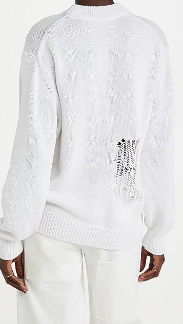 Tibi 贴布花绣棉质圆领套头衫