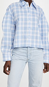 Tibi Spring Plaid Scallop Sleeve Cropped Shirt