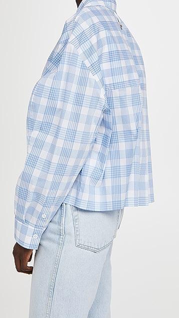 Tibi 春日格子扇贝饰边衣袖短款衬衫