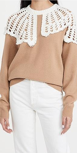 Tibi - Lana Crochet Collar Pullover