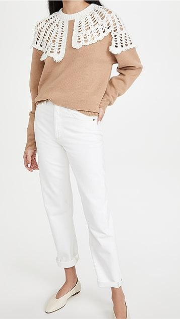 Tibi Lana 钩针编织衣领羊毛套头衫