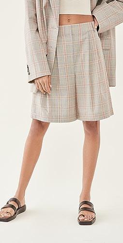 Tibi - Nova Plaid Stella Pleated Shorts