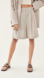 Tibi Nova Plaid Stella Pleated Shorts