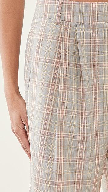 Tibi Nova Plaid Stella 裥褶短裤
