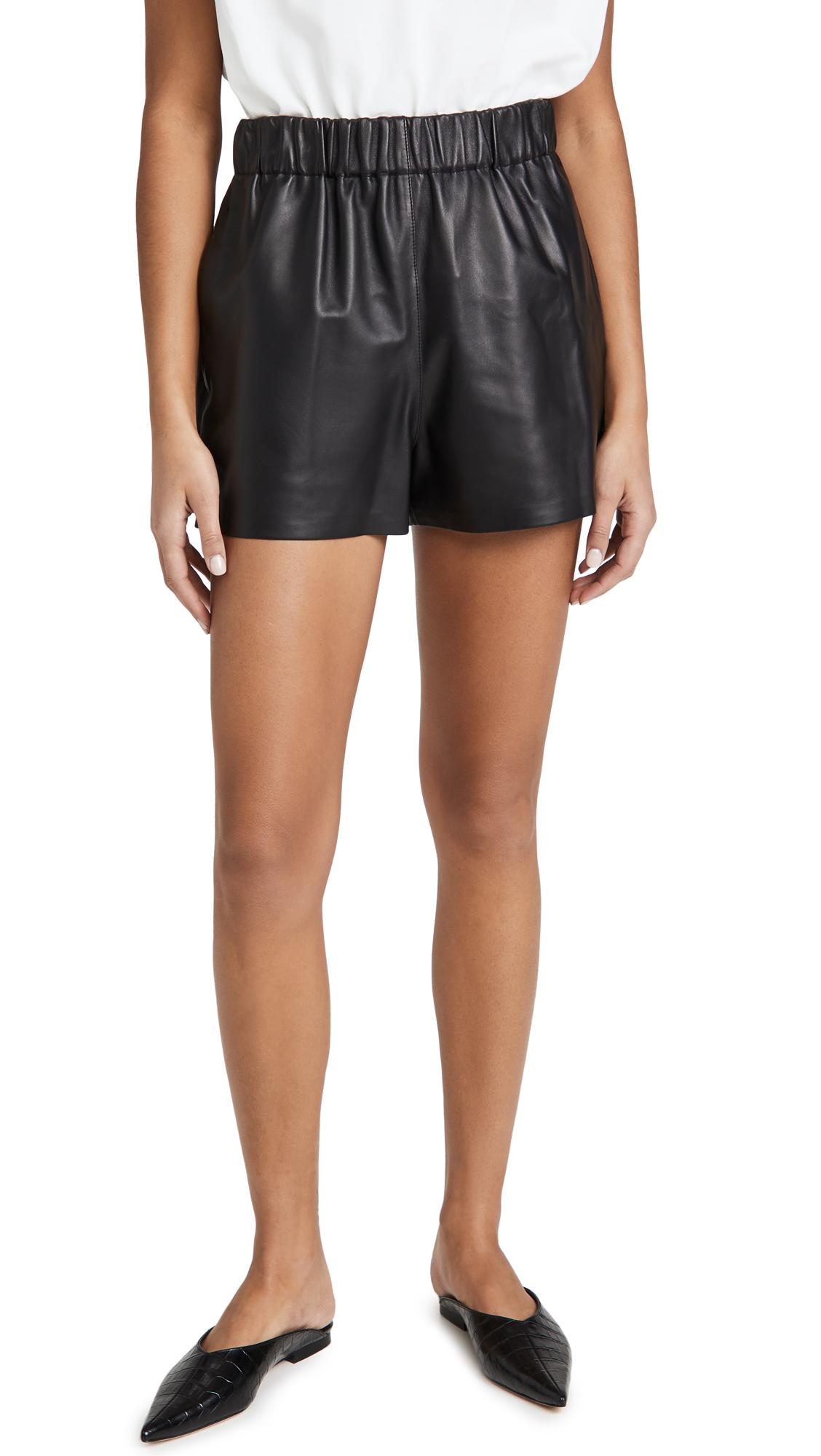Tibi Leather Pull On Shorts