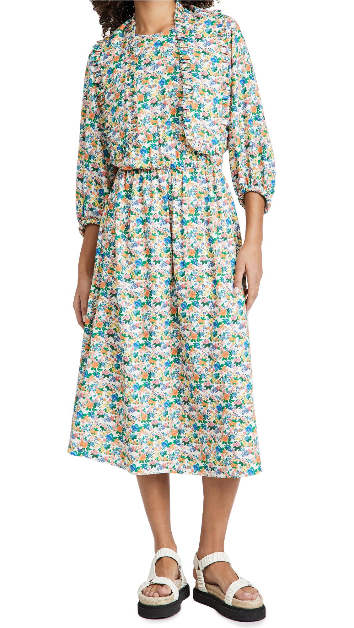 Tibi Sabine Floral Allonge Collar Dress