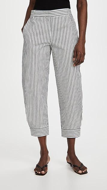 Tibi Railroad 牛仔布立体长裤