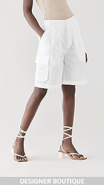 티비 Tibi Vintage Cotton Pull On Cargo Shorts,White